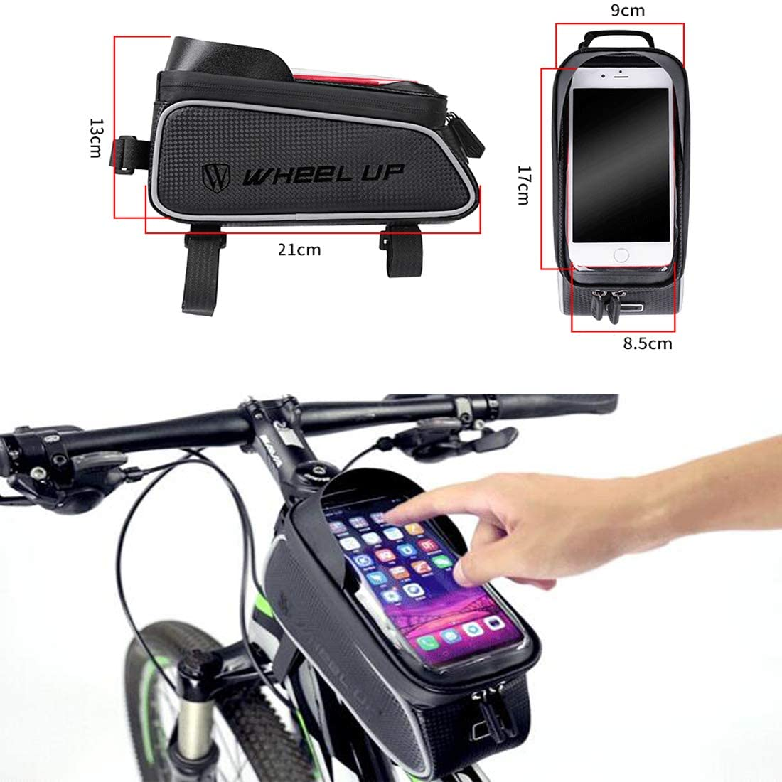UK Waterproof Mountain Bike Frame Front Bag Pannier Bicycle Mobile Phone Holder