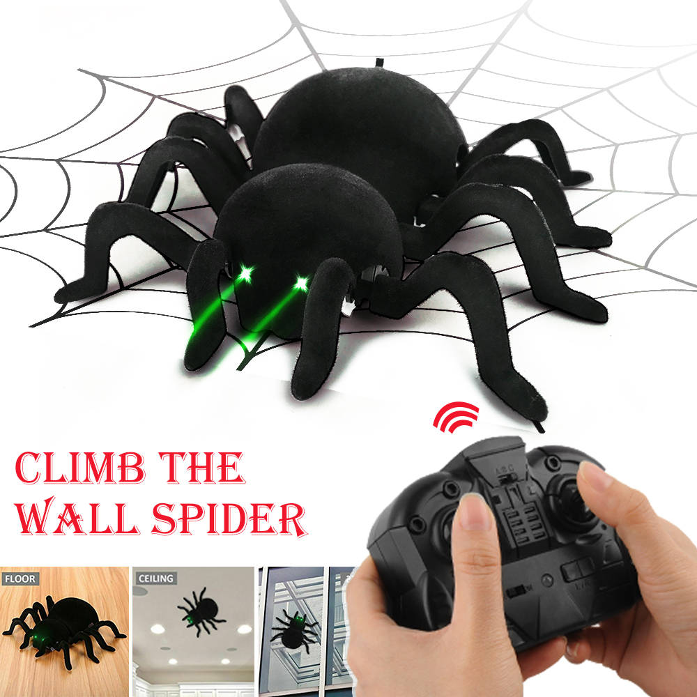 Black Terrifying Rc Wall Climbing Spider Remote Control Car Kid Trick Funny Toy Ebay