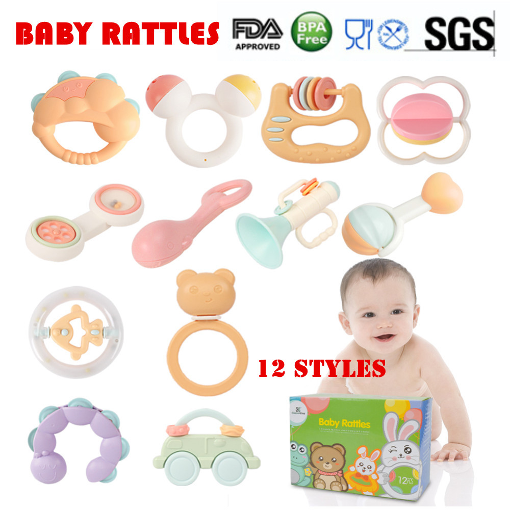 9Pcs Baby Rattle and Teether Easy Grip Baby Toy Baby Activity Toys Gift Set UK
