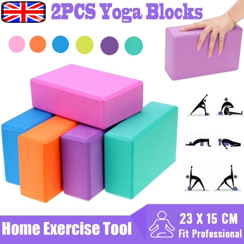 2Pcs Yoga Block Fitness EVA Foam Yoga Brick Pilates Stretching Exercise Workou