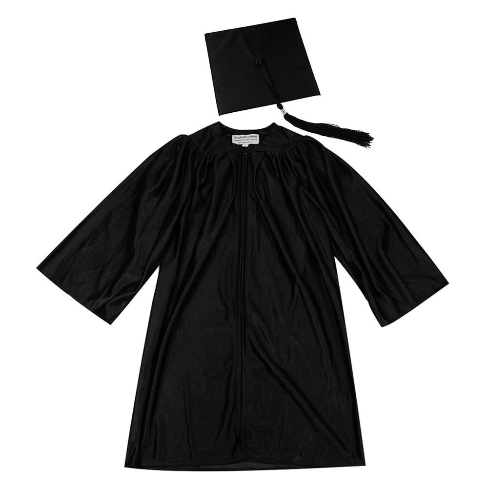 Children Kids Black Graduation Gown & tassel Hat Set Celebrate Suit ...