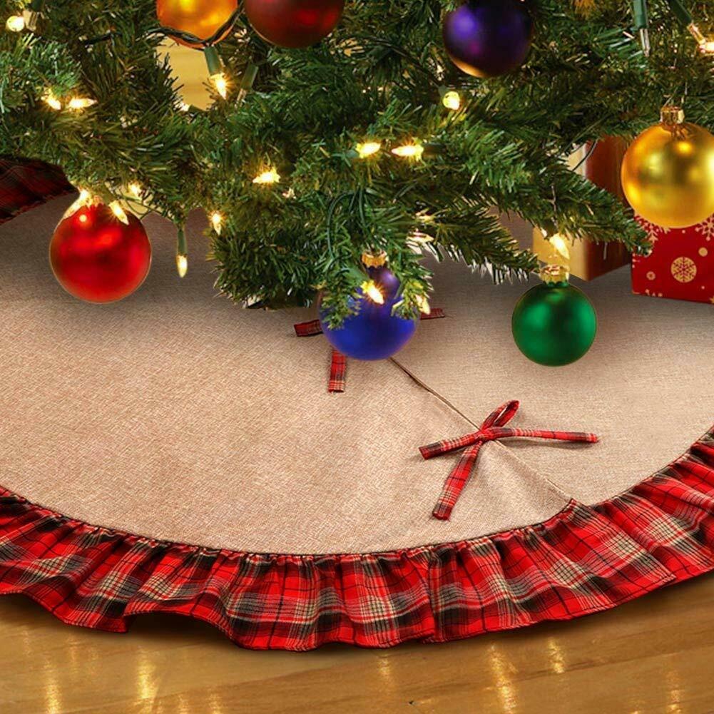 Linen Christmas Tree Skirt: Linen Burlap Christmas Tree Skirt Plaid Ruffle Edge Border