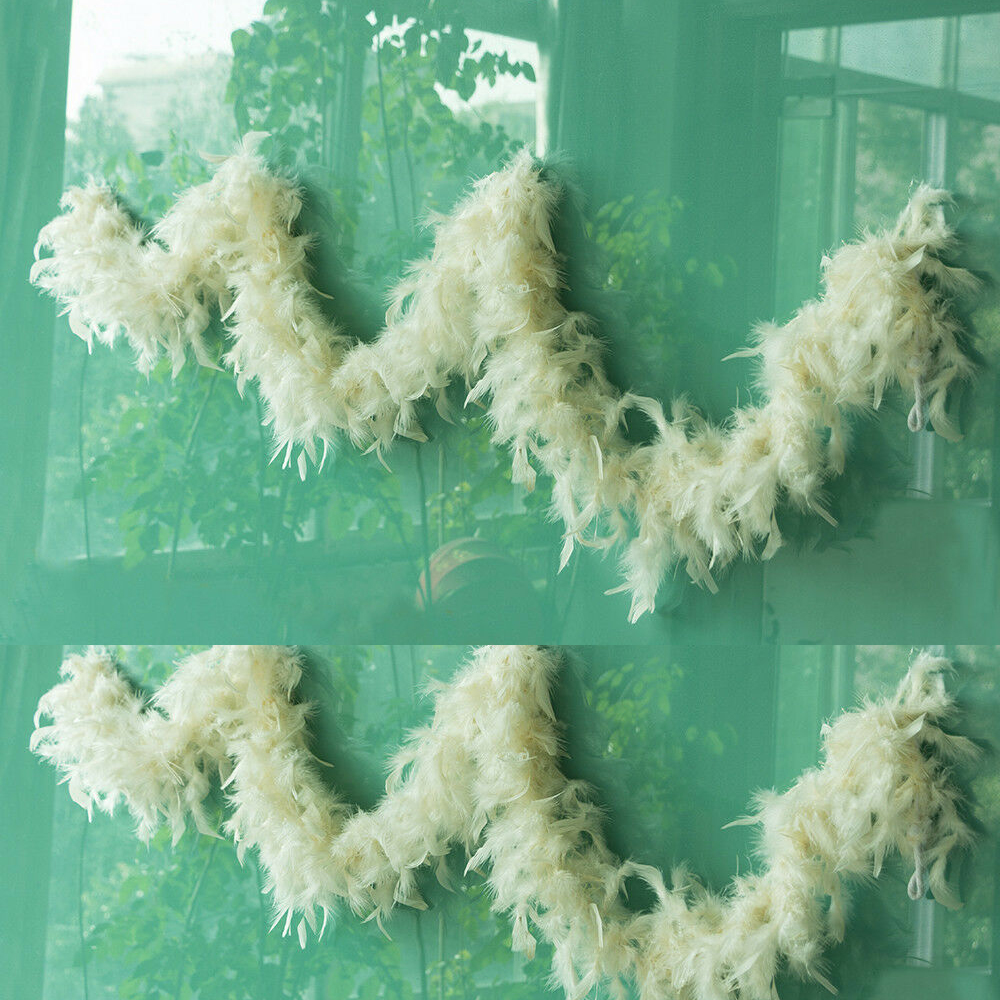 Pearl Garland For Christmas Tree: Christmas Cream Garland Pearl Ivory Feather Boa Xmas Tree