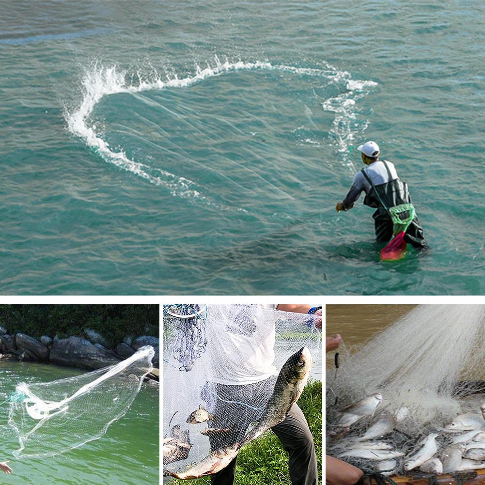 Wurfnetz Angelnetz Fishing Cast Net Handwurf Fischernetz Angeln K/öderfischfang K/öderfisch Angelzubeh/ör