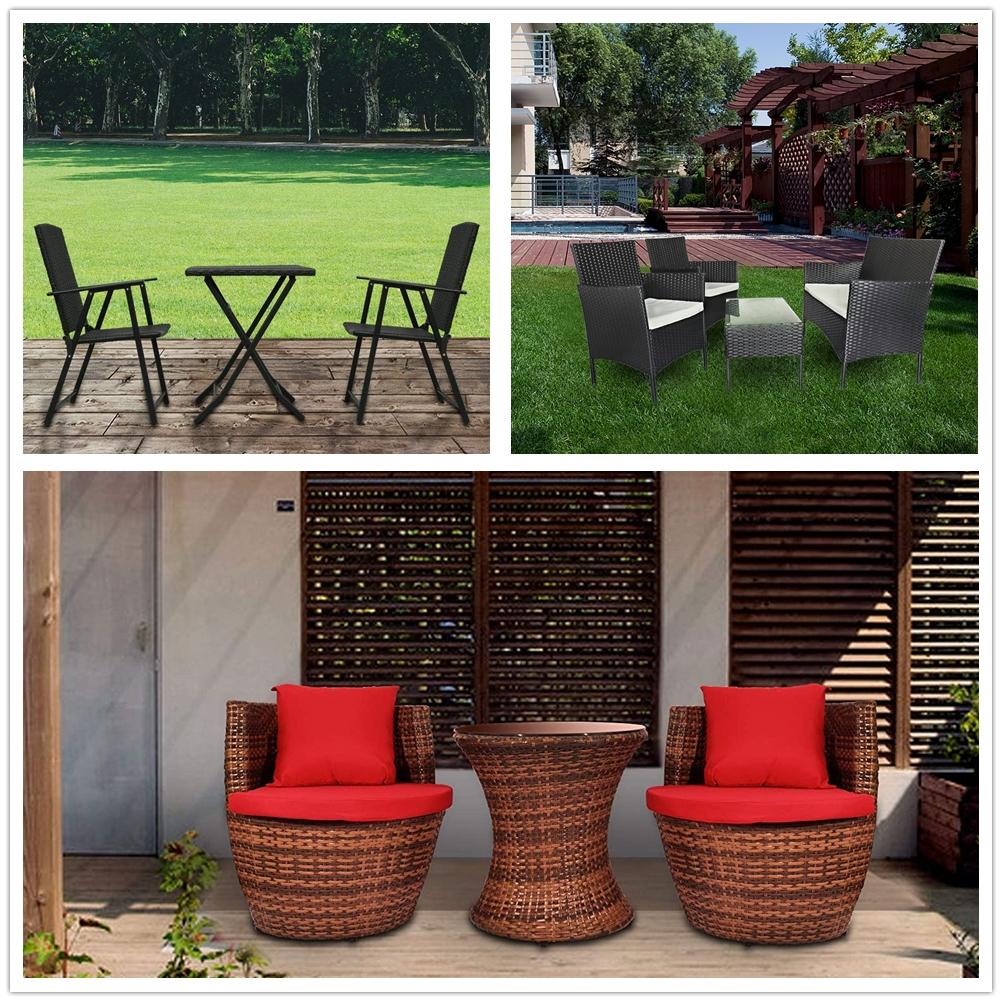 Rattan Folding Garden Furniture Set Chair Sofa Coffee Table Outdoor Patio  Lounge