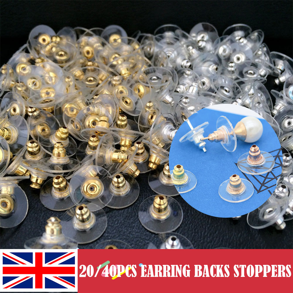 100Pcs Soft Earring Backs Stoppers Silver Gold Metal Plated Clear Plastic Rubber