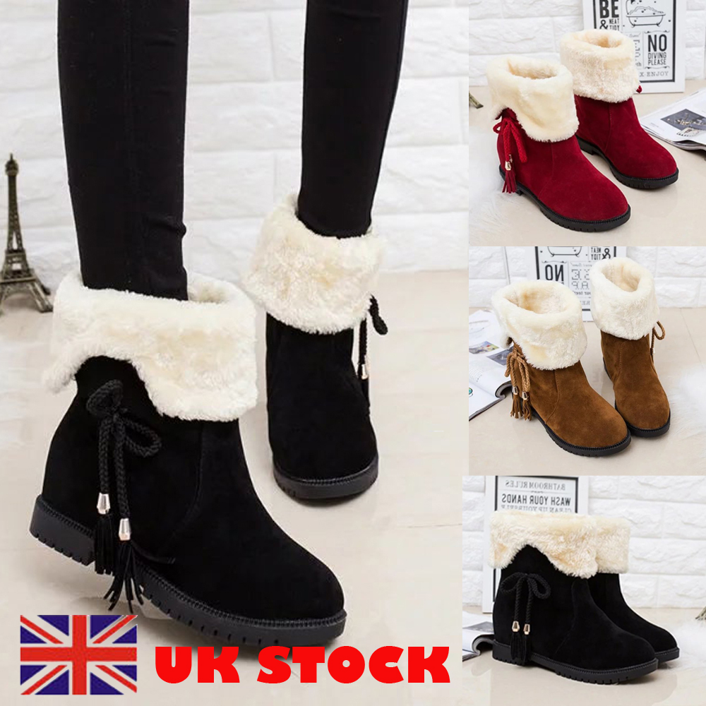 Ladies Kids Girls Fur Lined Ankle Zip Pull on Winter Warm Boots Women Shoes UK