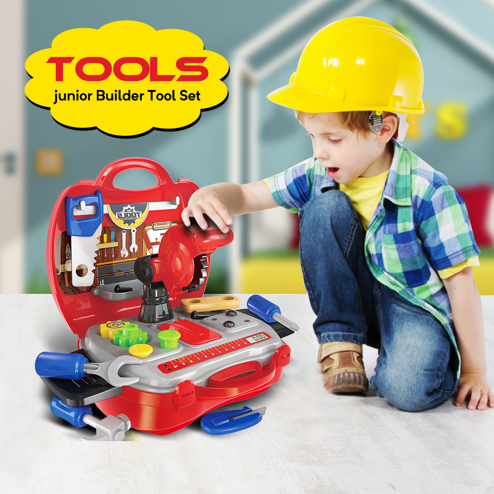 Children Kids 31pcs Drill Tool Box Set DIY Builders Building Construction Toy UK