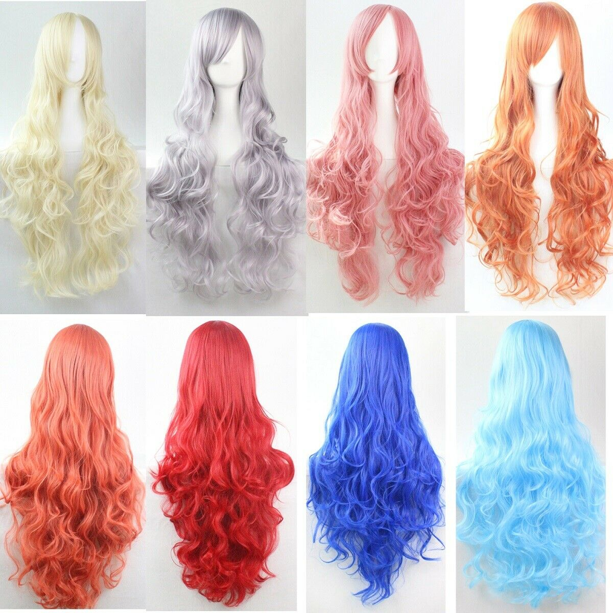 80cm Long Curly Fashion Cosplay Costume Party Hair Anime Wigs Full Hair Wavy Wig