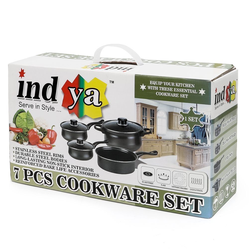 7PC-Cookware-Set-Pan-Pot-Carbon-Steel-Non-Stick-Saucepan-With-Glass-Lids-Kitchen thumbnail 20