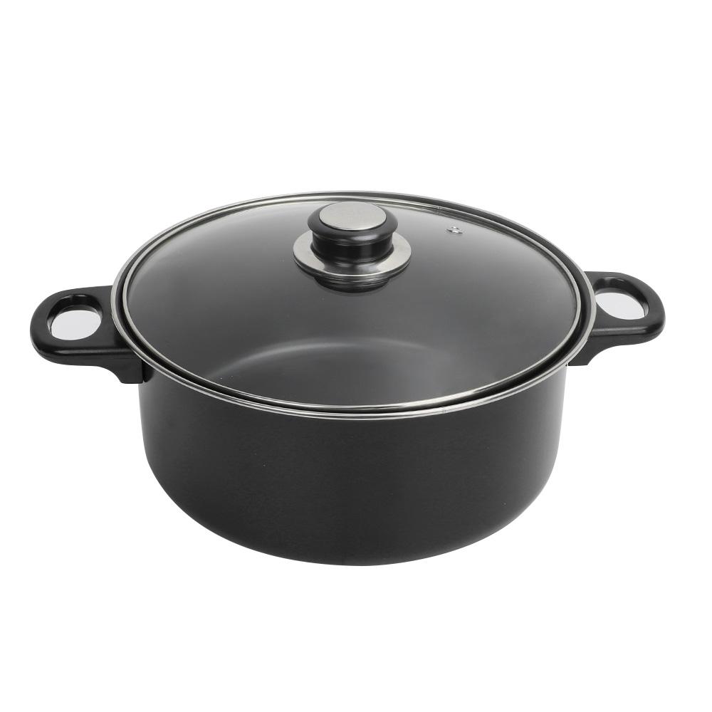 7PC-Cookware-Set-Pan-Pot-Carbon-Steel-Non-Stick-Saucepan-With-Glass-Lids-Kitchen thumbnail 24