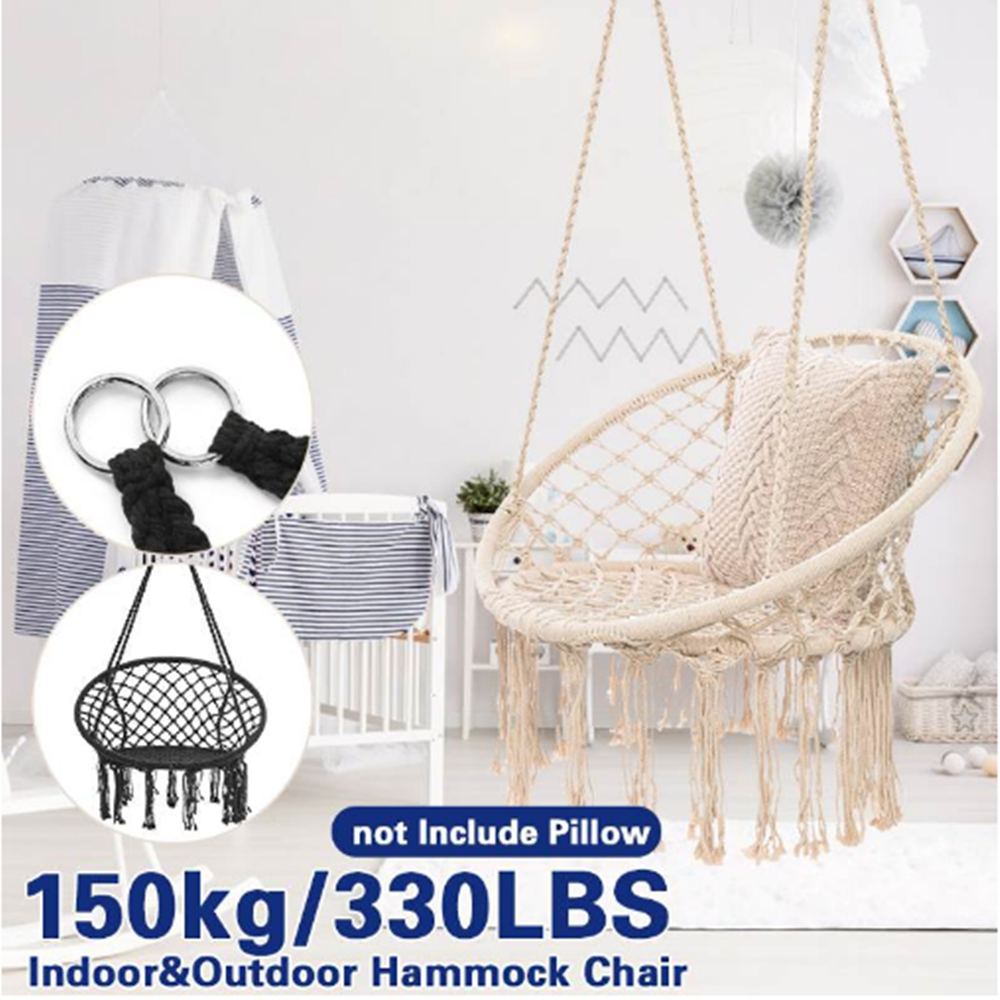 Hammock Swing Chair Hanging Rope Seat Net Chair Macrame Swing Garden Outdoor Uk Ebay