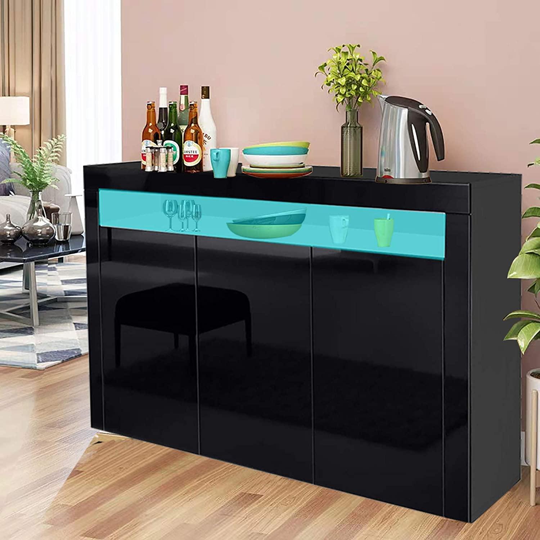 Modern High Gloss Sideboard Storage Cabinet w/LED Lighting ...