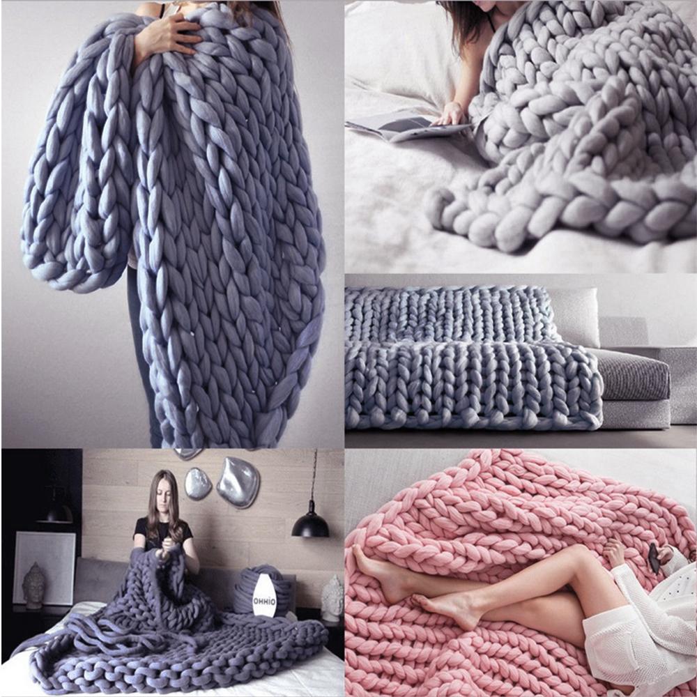 Handmade Knitted Thick Blanket Wool Chunky Yarn Bulky Knit Throw Sofa
