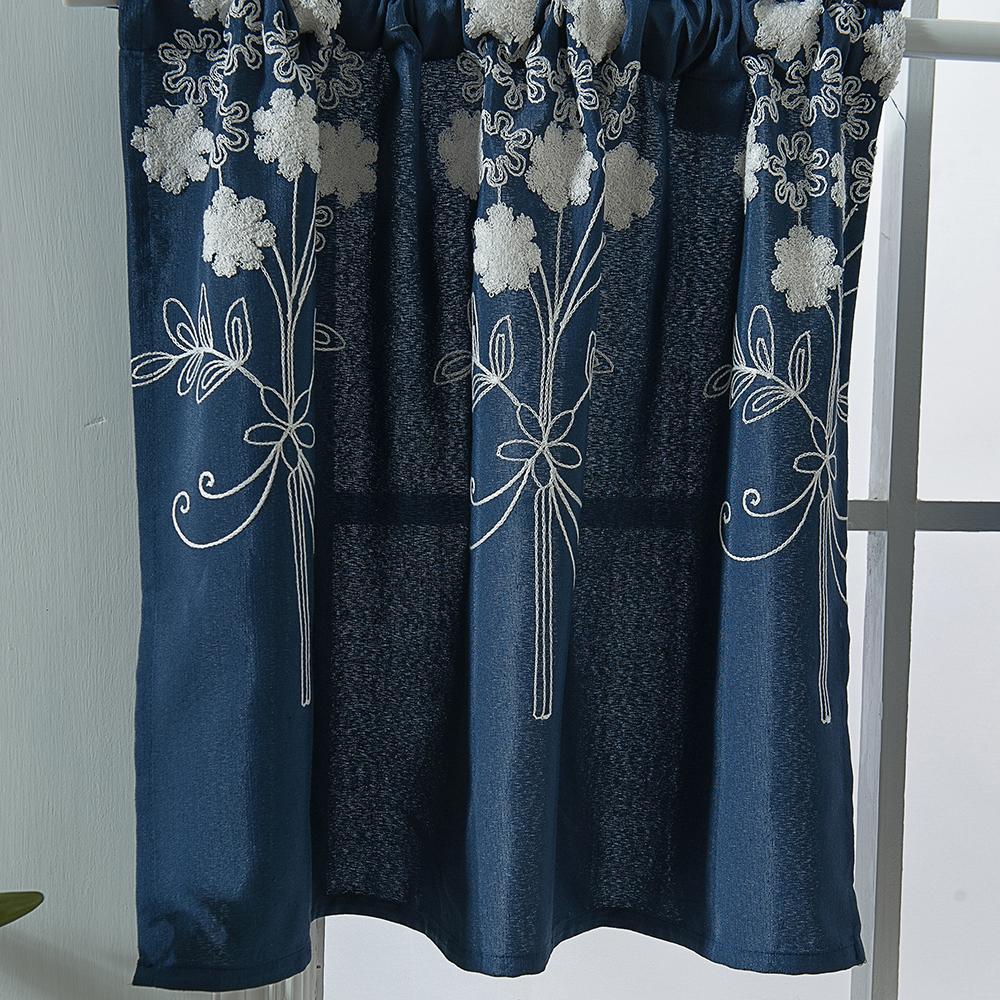 Flower Embroidered Window Half Short Curtains Kitchen ...
