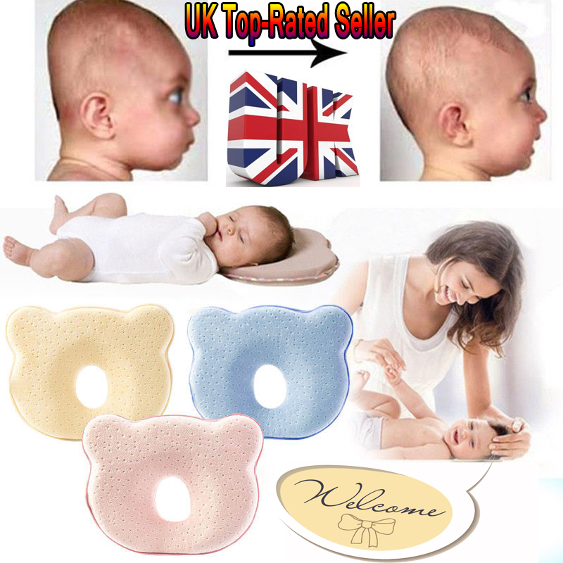 UK Baby Cot Pillow Newborn Infant Anti Flat Head Cushion Crib Bed Neck Support