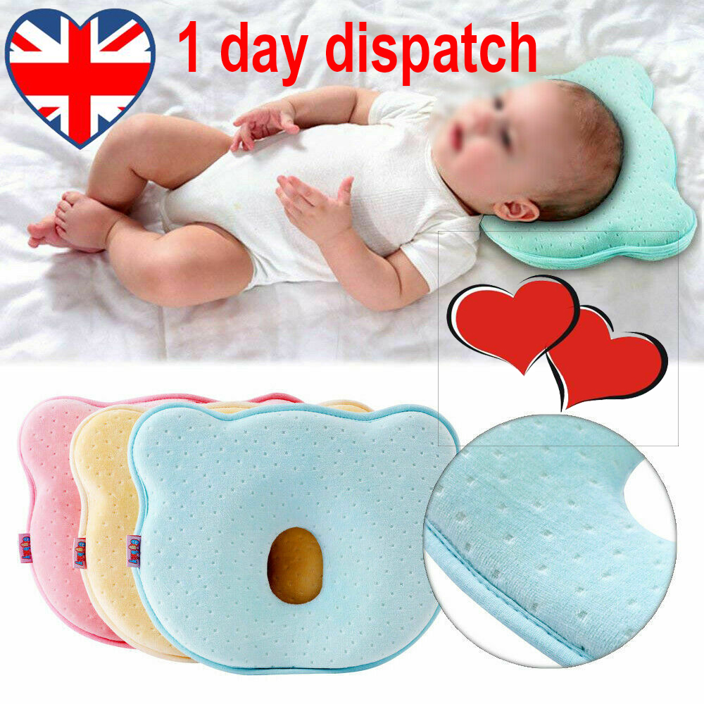 Infant Baby Pillow For Newborn Prevent Flat Bear Shape Head Support Pad UK Local