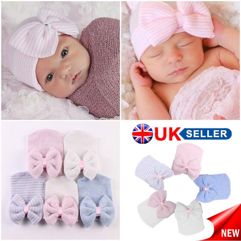 Hospital Newborn Baby Infant Girl Boy Hat Striped Stripes Bow Cap Beanie Soft UK