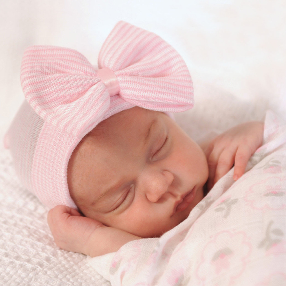 Baby Newborn Soft Striped Hat With Bow Child Girl Infant Beanie Cap Diomand New