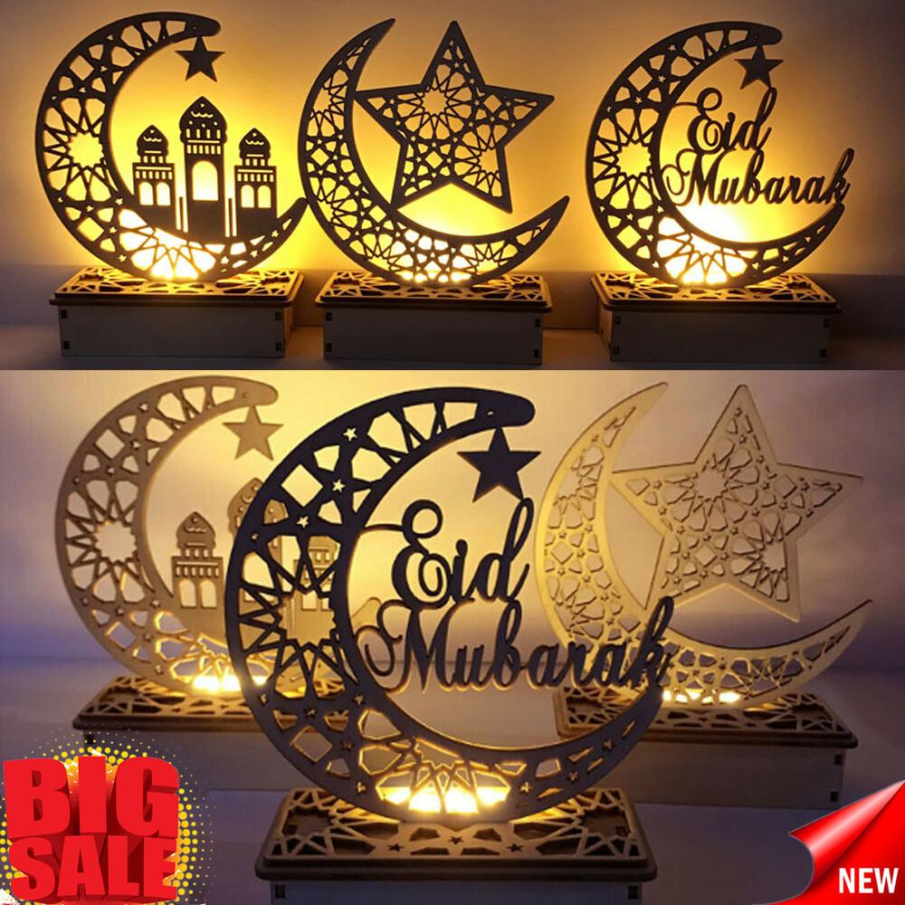 Diy Wooden Eid Mubarak Plaque Moon Star Ramadan Ornament Muslim Home Decor Gifts Ebay