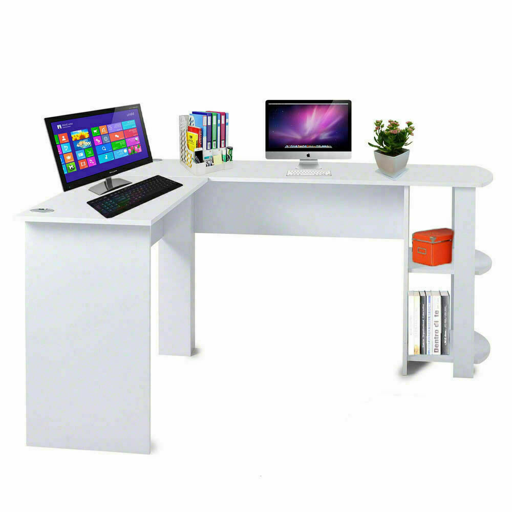 Details about Corner Computer Desk L-Shaped Study Gaming Table With Shelves  Home Office