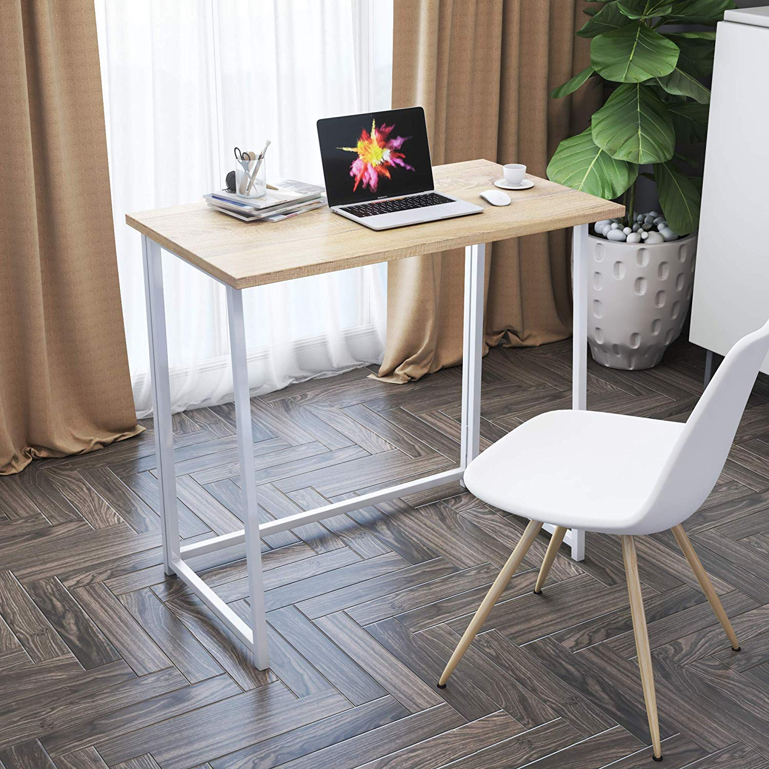 Details about Folding Desk Study Coffee Table Foldable Computer Desk Laptop  Office Home Wooden