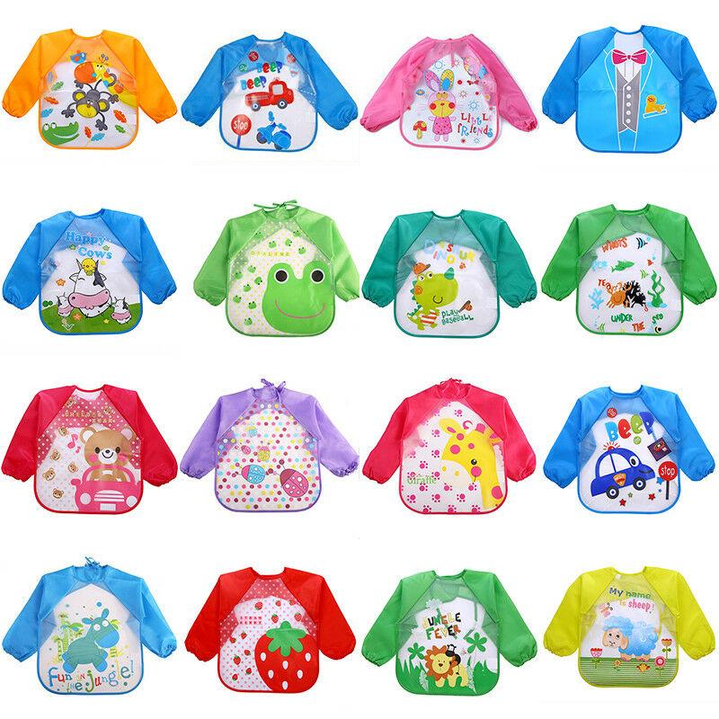 Enfant-Bebe-Tablier-Bavoir-Blouse-a-Manches-Longue-Impermeable-Pour-0-3-ans miniatura 5