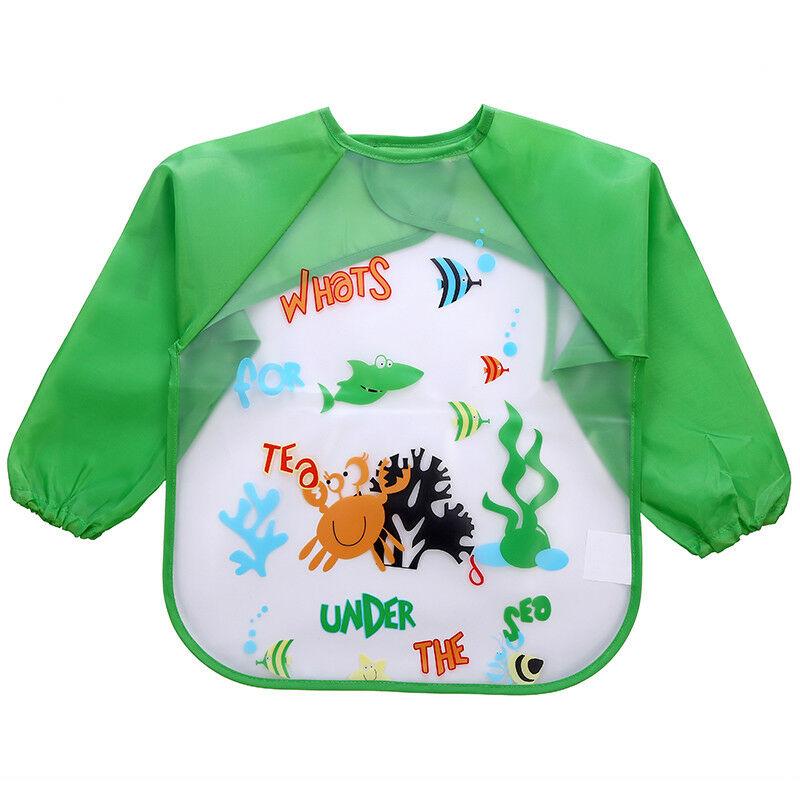 Enfant-Bebe-Tablier-Bavoir-Blouse-a-Manches-Longue-Impermeable-Pour-0-3-ans miniatura 7