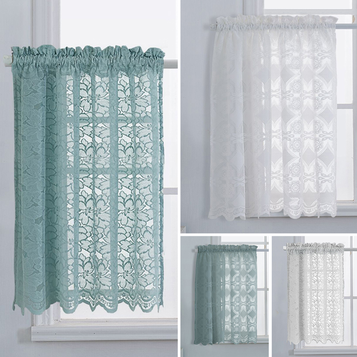 Lace Kitchen Cafe Short Curtains Sheer Voile Tulle Drapes Blinds Panel Net Scarf Ebay