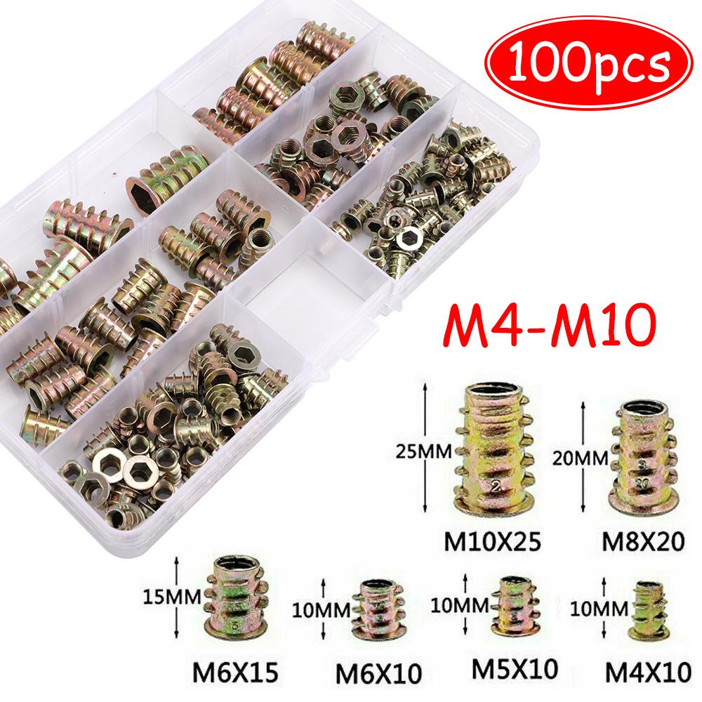 100x M4//5//6//8//10 Threaded Hex Drive Fixing Wood Screw Inserts Nuts Toolk Sale