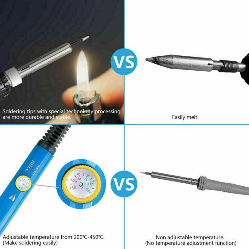 16-in-1-Soldering-Iron-Kit-60W-Adjustable-Temperature-Electronic-Repair-Tool-UK thumbnail 9