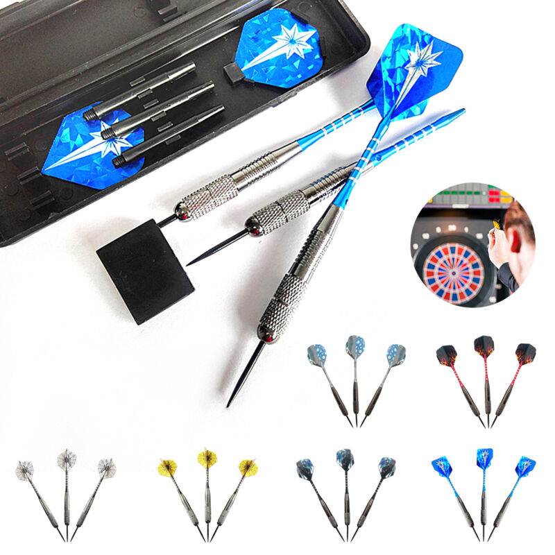 26g Professional Tungsten Darts Set-Steel Tips with Spare Shafts /& Carry Case UK