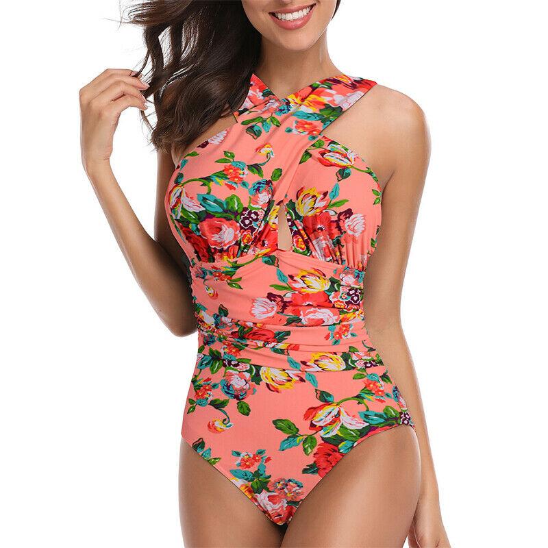 53621eb093 Plus Size Women One Piece Swimsuit Swimwear Deep-V Tummy Control Backless  Padded
