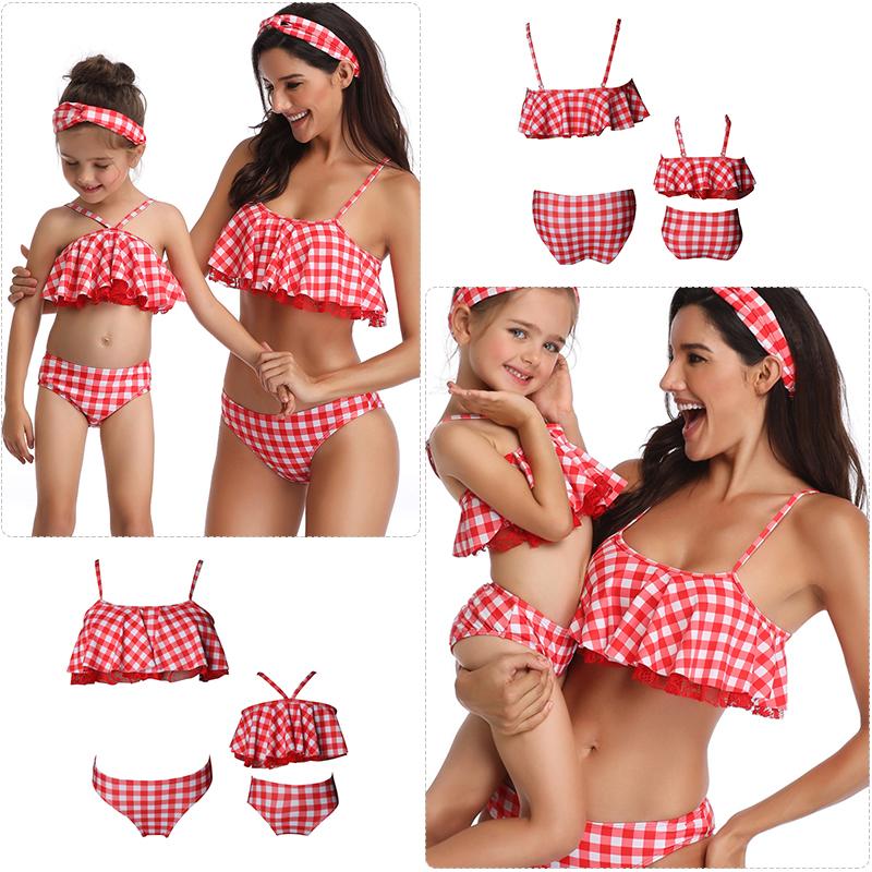 UK Family Matching Swimwear Mother Daughter Women Kid Baby Girls Swimsuit Bikini
