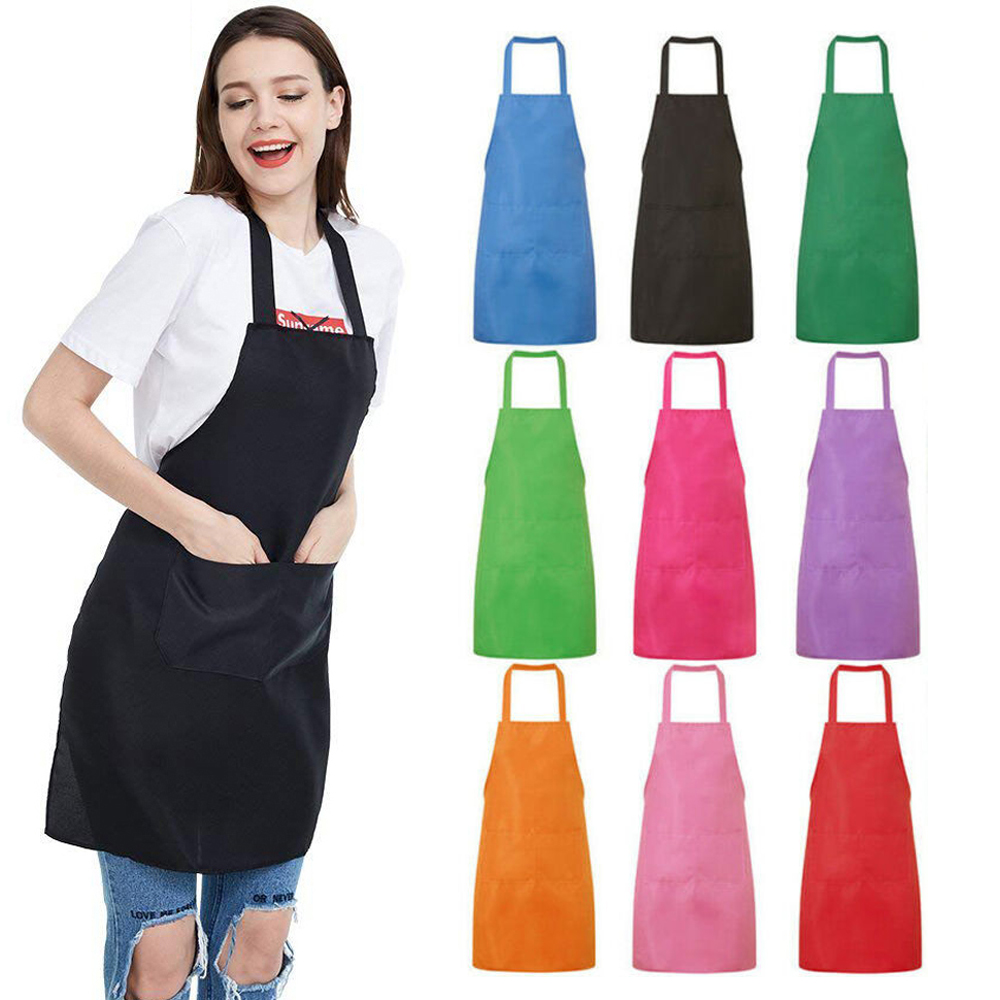 Black Chef Apron Kitchen Waterproof Pocket Catering Cooking//Butcher Unisex Gown