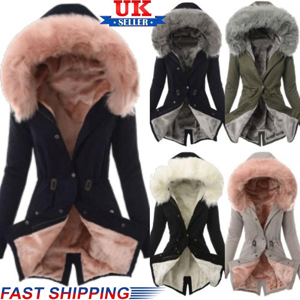 UK Womens Winter Warm Fur Lining Parka Jacket Ladies Zip Up Hooded Coat Outwear