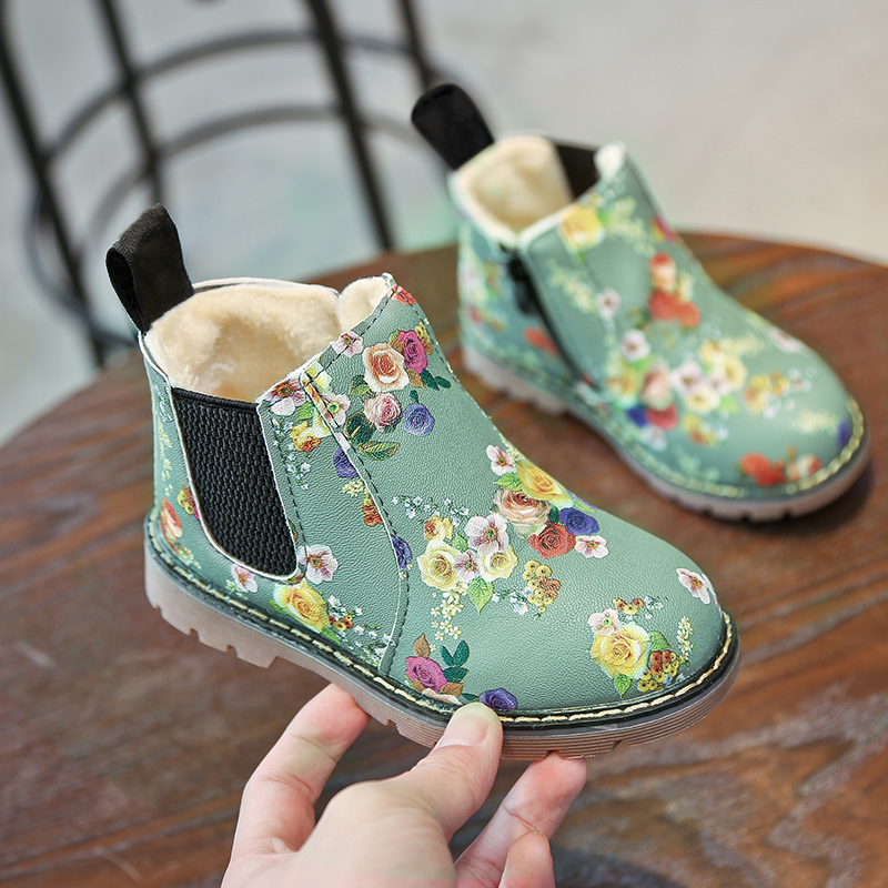 Kids Boys//Girls Winter Warm Fur Lined Shoes Ankle Boots Child Chelsea Shoes Gift