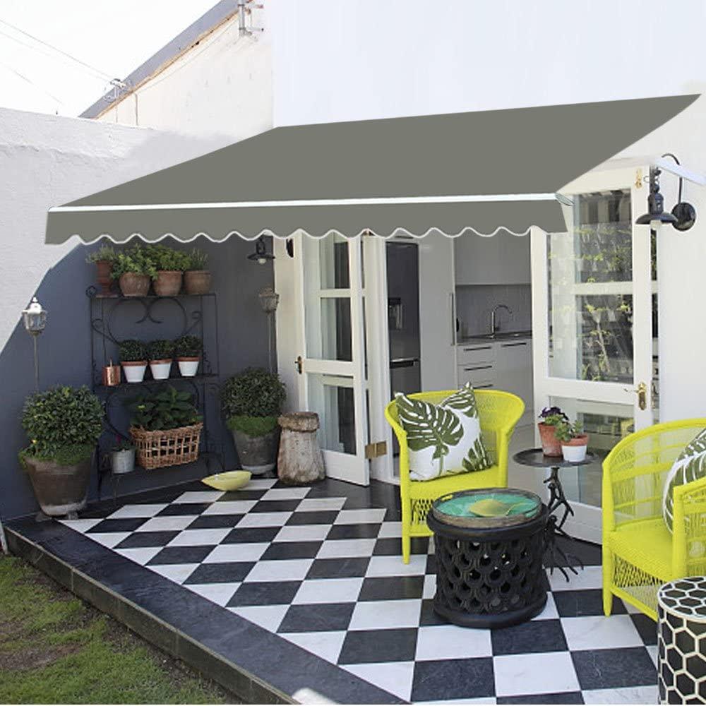 UK Patio Awning Manual Garden Canopy Sunshade Retractable ...