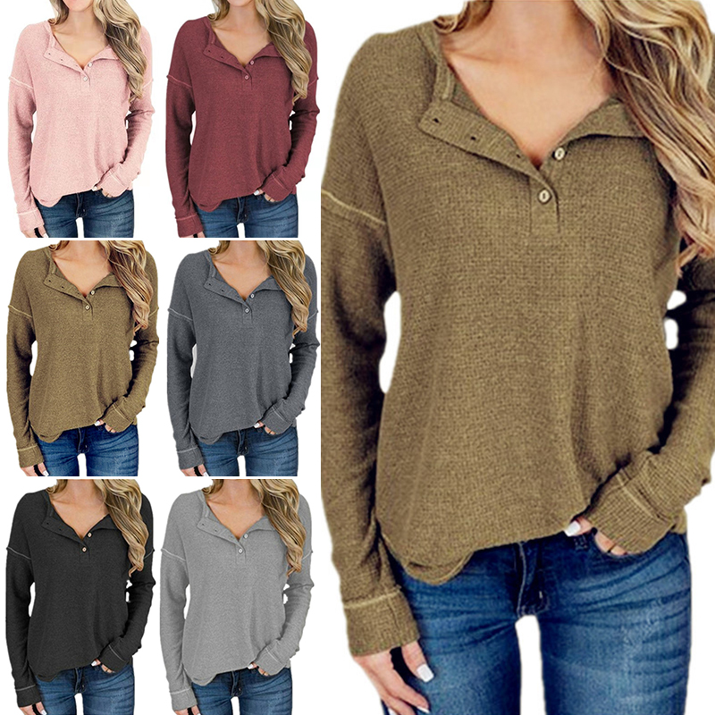 Women/'s V Neck Long Sleeve Jumper Knitted Pullover Sweater Casual Tops