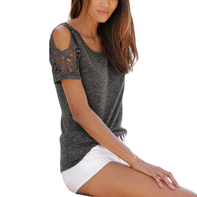 Women-Summer-Cold-Shoulder-Loose-T-Shirt-Blouse-Ladies-Short-Sleeve-Casual-Tops thumbnail 18