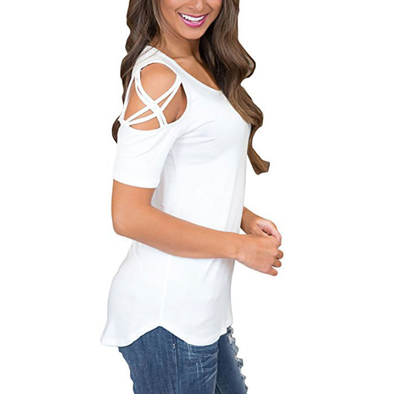 Womens-Cold-Shoulder-T-Shirt-Ladies-Summer-Casual-Tunic-Blouse-Plain-Tops-UK thumbnail 20