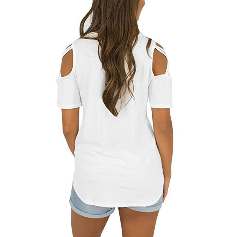 Womens-Cold-Shoulder-T-Shirt-Ladies-Summer-Casual-Tunic-Blouse-Plain-Tops-UK thumbnail 21