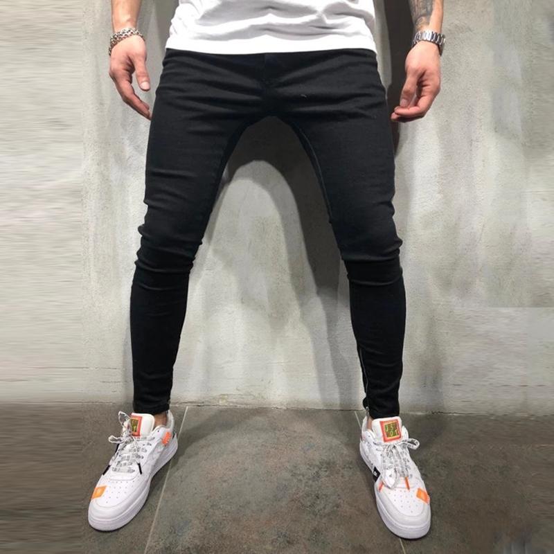 NUOVA-linea-uomo-Super-Skinny-Fit-Strappato-Jeans-Stretch-Biker-Denim-Pantaloni miniatura 11