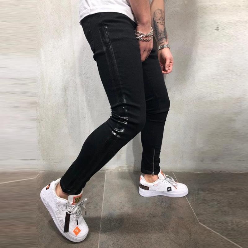 NUOVA-linea-uomo-Super-Skinny-Fit-Strappato-Jeans-Stretch-Biker-Denim-Pantaloni miniatura 12