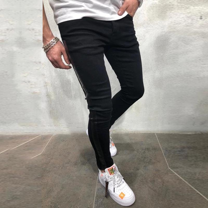 NUOVA-linea-uomo-Super-Skinny-Fit-Strappato-Jeans-Stretch-Biker-Denim-Pantaloni miniatura 13