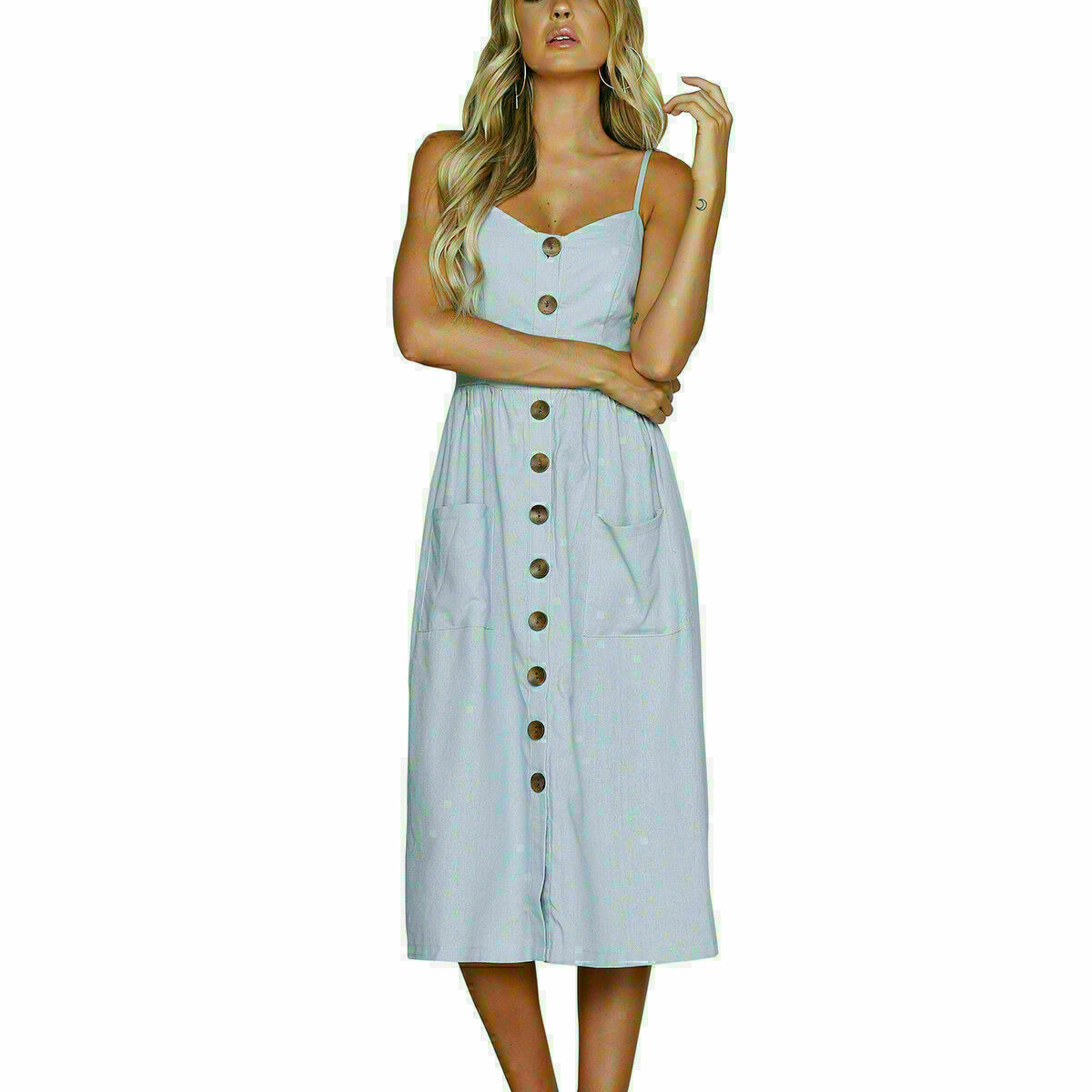 Womens-Holiday-Strappy-Button-Pocket-Ladies-Summer-Beach-Midi-Swing-Sundress thumbnail 33