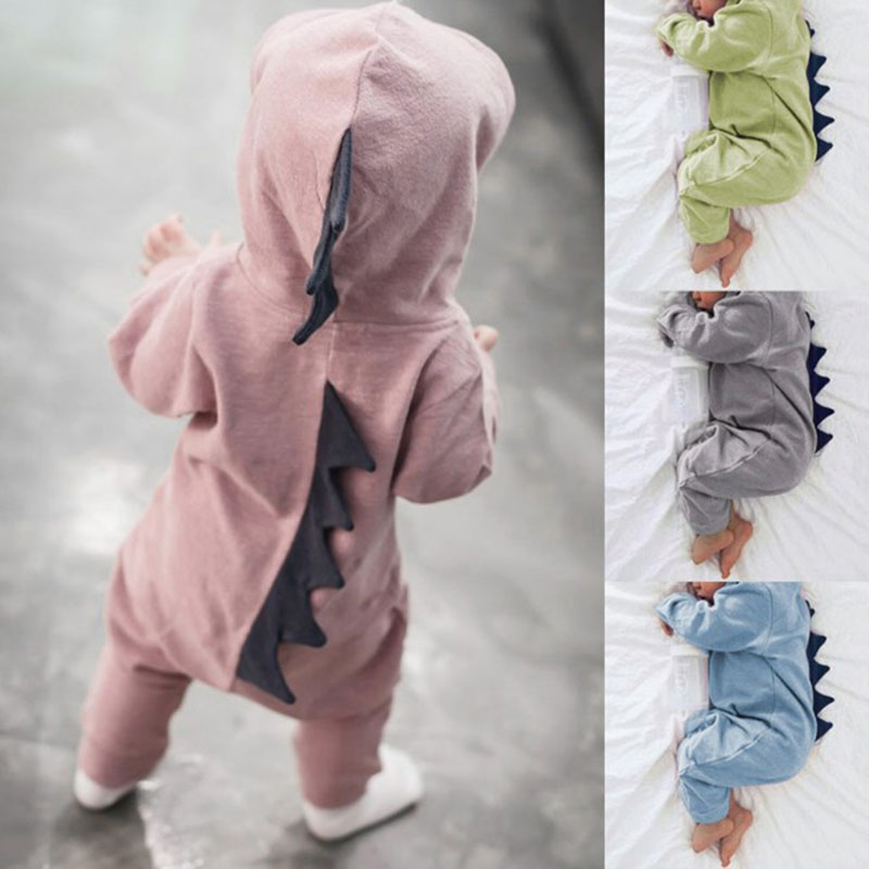 119993b80 Newborn Infant Baby Boy Girl Kids Dinosaur Hooded Romper Jumpsuit Clothes  Outfit