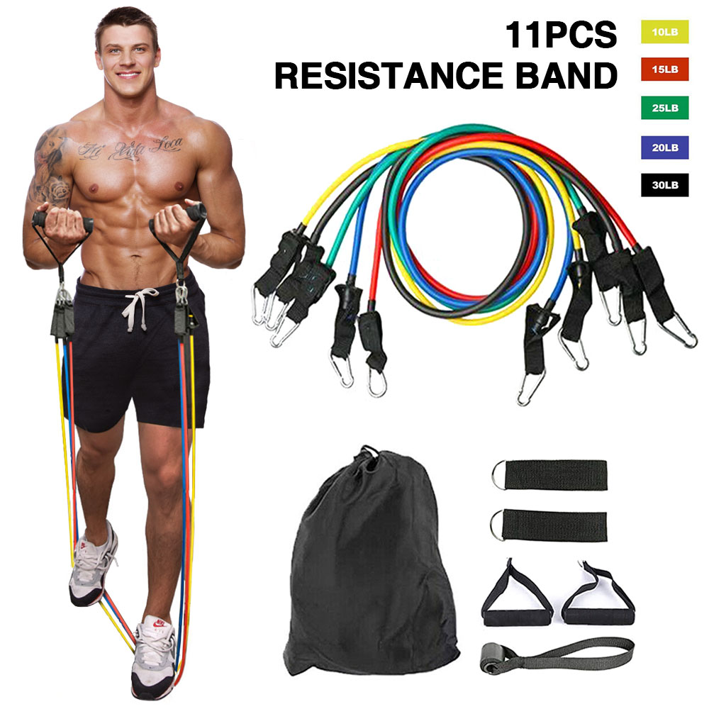 UK 13 Pcs Resistance Workout Bands Exercise Crossfit Fitness Tubes Yoga Set