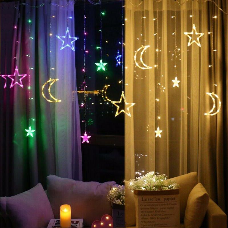 Led Lichterkette Mond Sterne Lichtervorhang Fenster Garten