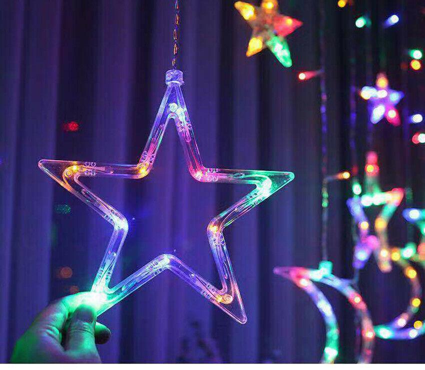 LED Sterne Mond Lichtervorhang Weihnachtsbeleuchtung Lichterkette Fenster Deko